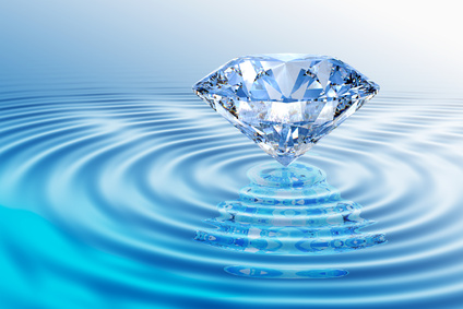 Blue diamond with reflection